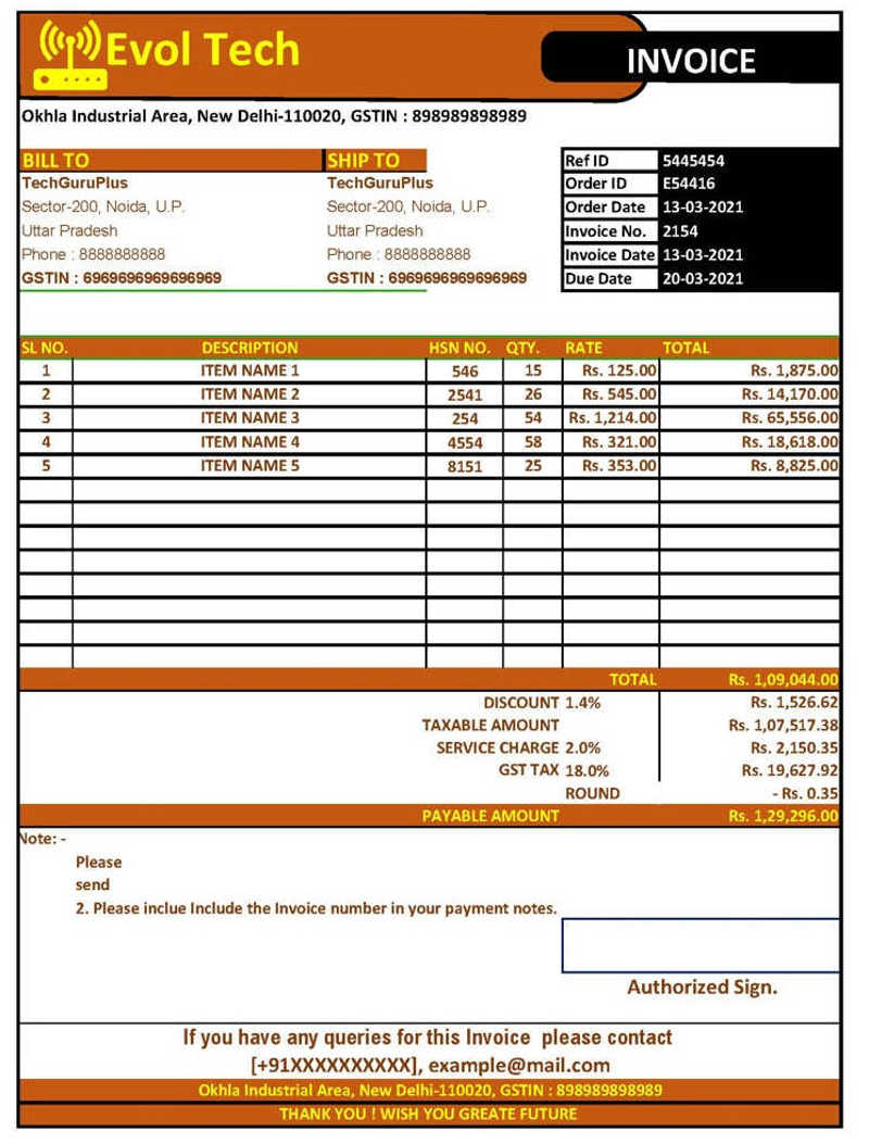 New And Creative Style Of Gst Invoice Format In Excel Download Xlsx File